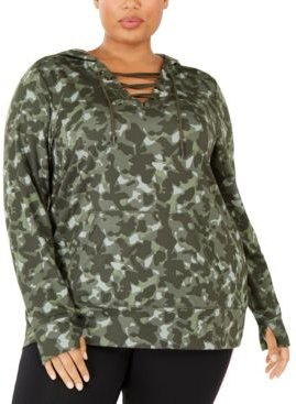 Plus Size Camouflage Warm-Up Hoodie, Created For Macy's