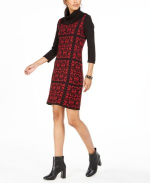 Tile-Print Cowlneck Sweater Dress
