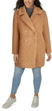 Plus Size Double-Breasted Faux-Fur Teddy Coat