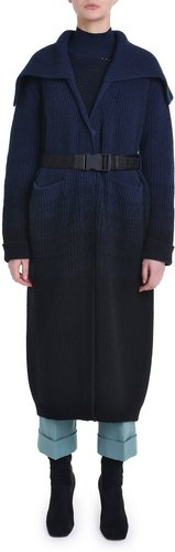 Ombre Ribbed Knit Coat