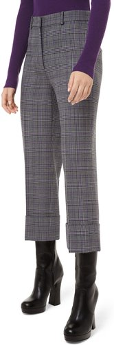 Glen Plaid Wool Cropped Trousers