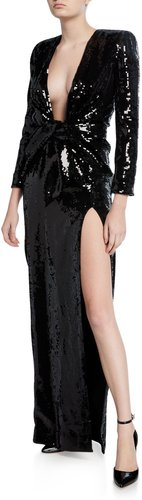 Sequined Deep V-Neck Long-Sleeve Gown
