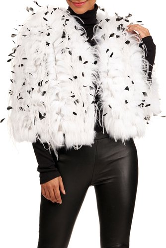 Shadow Fox Fur Jacket W/ Ostrich And Coque Feathers