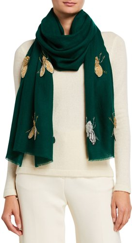 Beaded Flies Cashmere Scarf