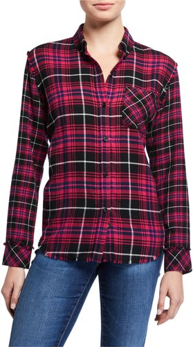 Brock Plaid Button Down Frayed Hem Top