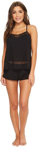 Angel Modal and Lace Cami and Shorts Set (Black) Women's Pajama Sets